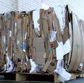 old corrugated containers (OCC) on pallet