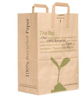 Paper bags are recyclable, compostable, and made from a renewable resource