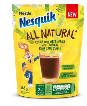 Nesquik in recyclable paper pouch