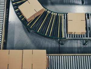 corrugated sheets on conveyor