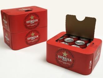 Estrella Damm paperboard packaging